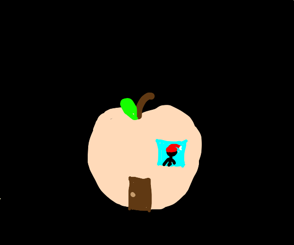 man with a santa hat lives in a peach