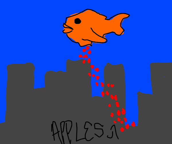 goldfish bombing city with apples
