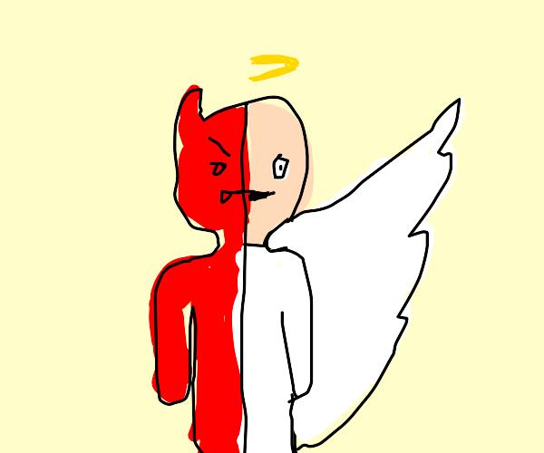 Half demon and half angel. Literally.