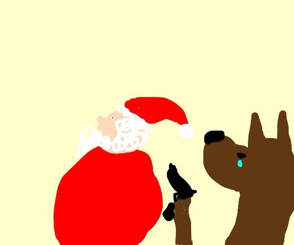 a dog tries to shoot santa?