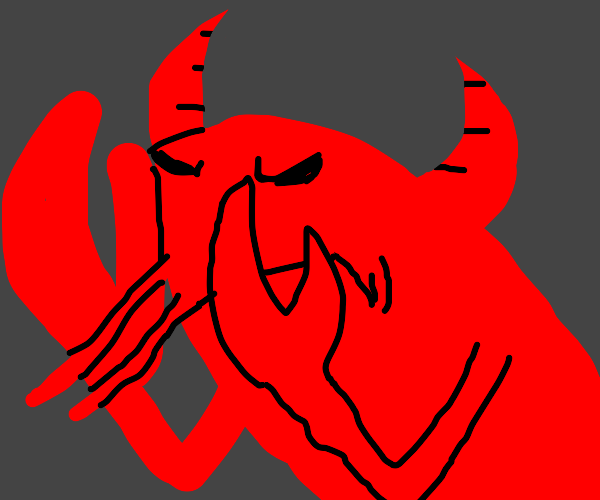 Angry satan horned lobster