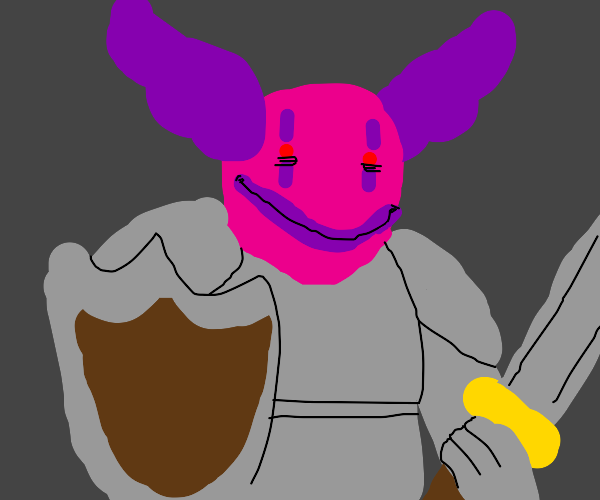 pink clown holding sword and shield