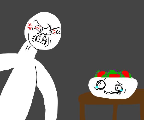 Angry at salad