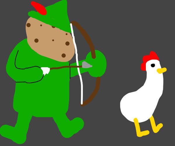 Robinhood potato head hunts chickens