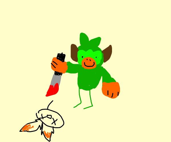 Grookey Stabs Scorbunny and smiles at it