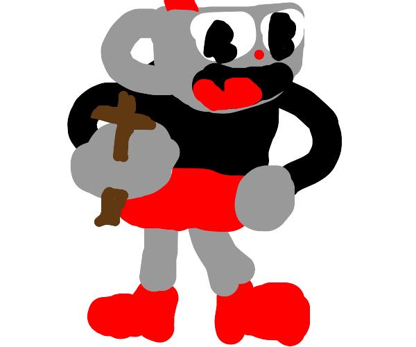 guy with a teacup head holding a satan cross