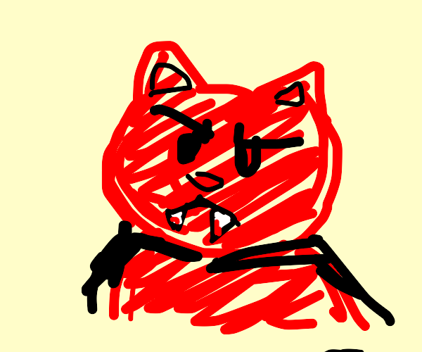 Angry red vampire cat