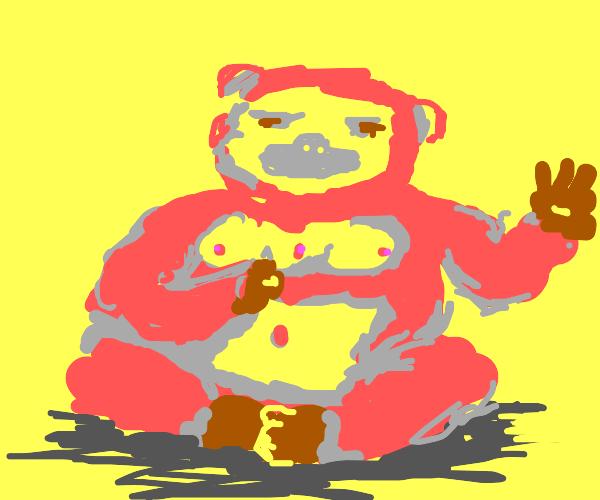 Orangutan with three nipples
