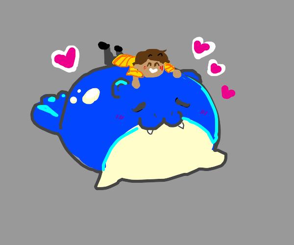 kid likes hugging seal pokemon thing