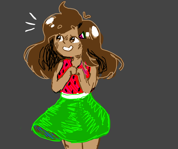 Girl wearing a watermelon dress