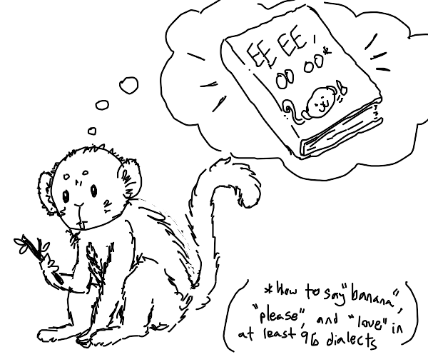 monkey thinking about a book