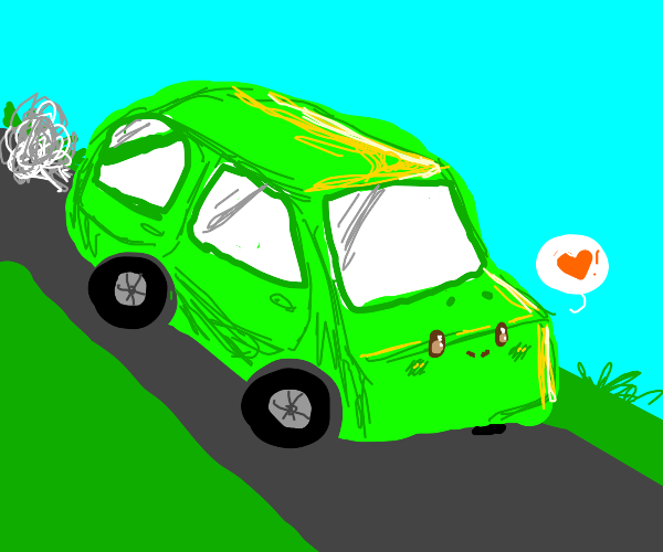 Neon green car with a cute face