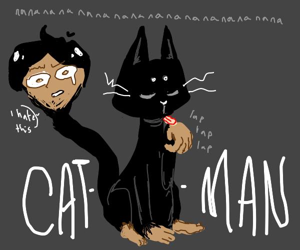 Two headed cat man