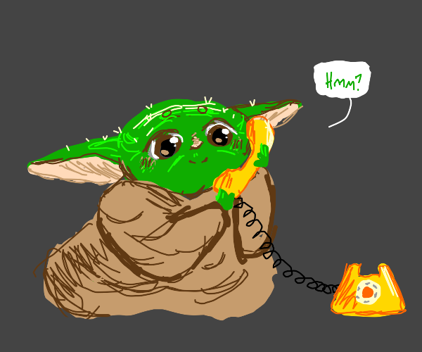 Baby Yoda With a Phone