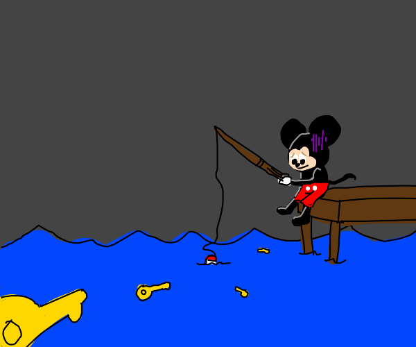 mickey is fishing for keys