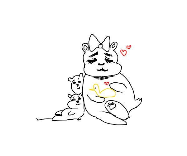 Bear mom loves yellow duck