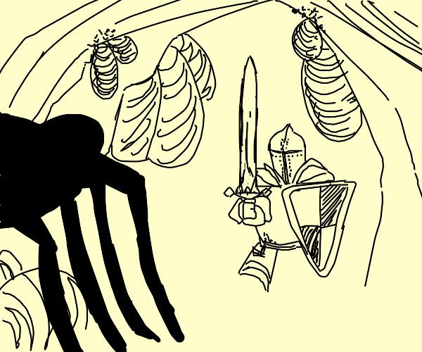 knight encounter giant spider in dark cave
