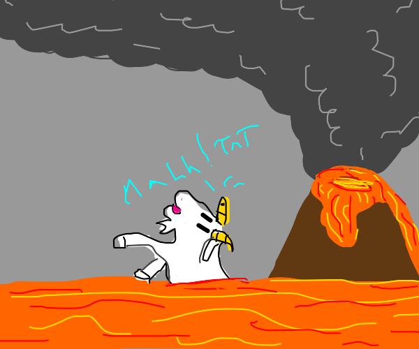 a goat tried to swim in lava