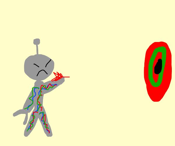 angry robot plays darts