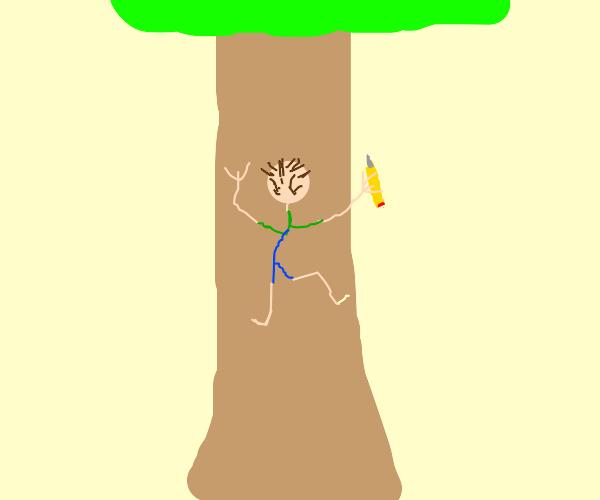 Man with pencil climbing tree