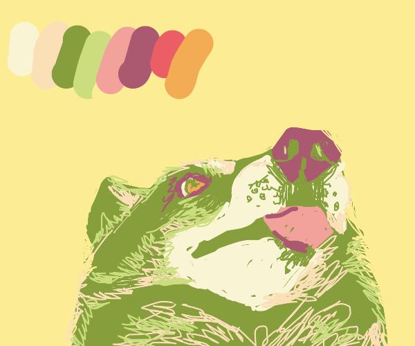 Cute green wolf