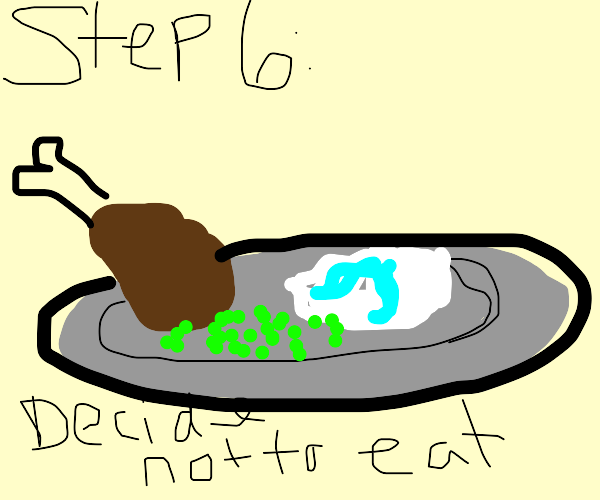 step 5: spit on the food