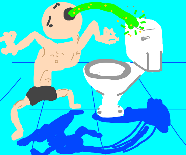 Man puking on the toilet