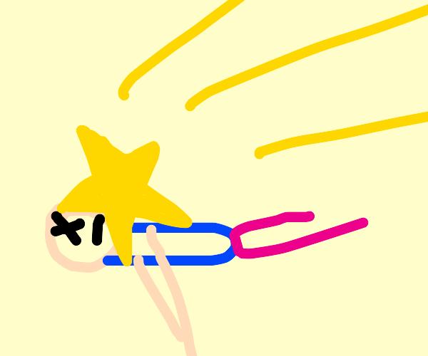 Shooting star falling on man