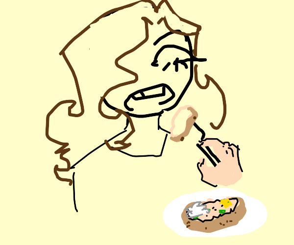 Girl eating a potatoe