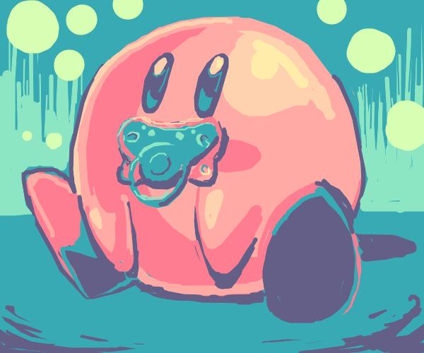 Kirby with a binky