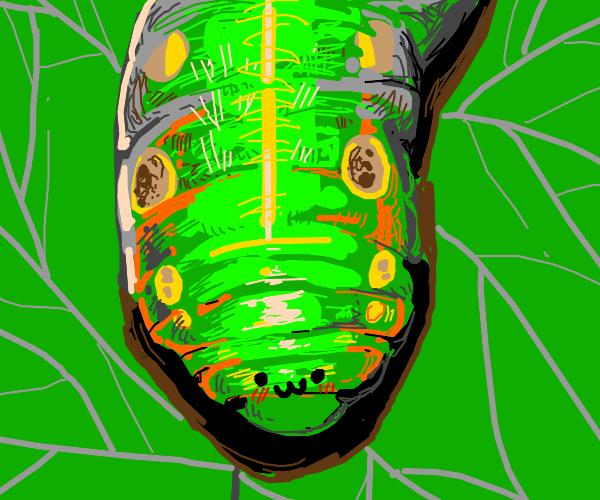 Green caterpillar loves you