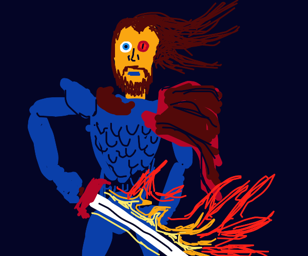 Epic knight with flaming sword