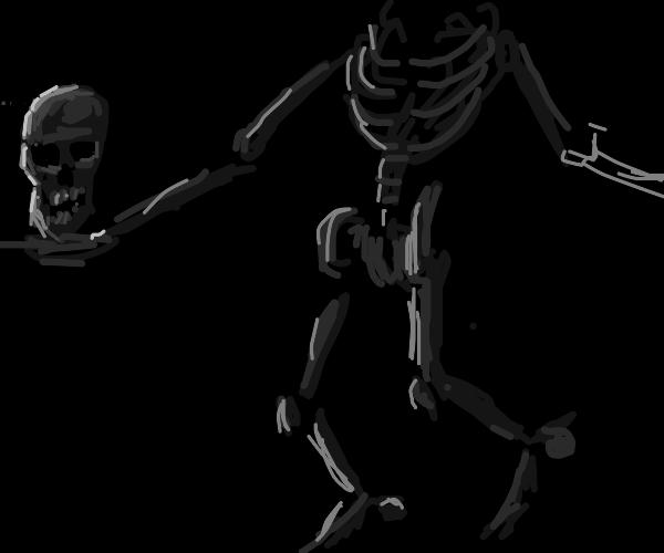 skeleton holding it's own head