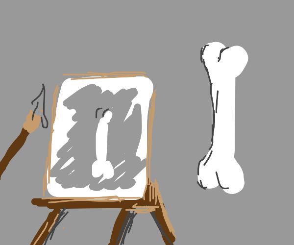 Man painting museum dinosaur bones