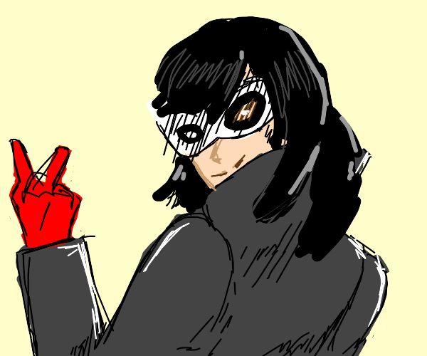 joker (persona 5) with long hair