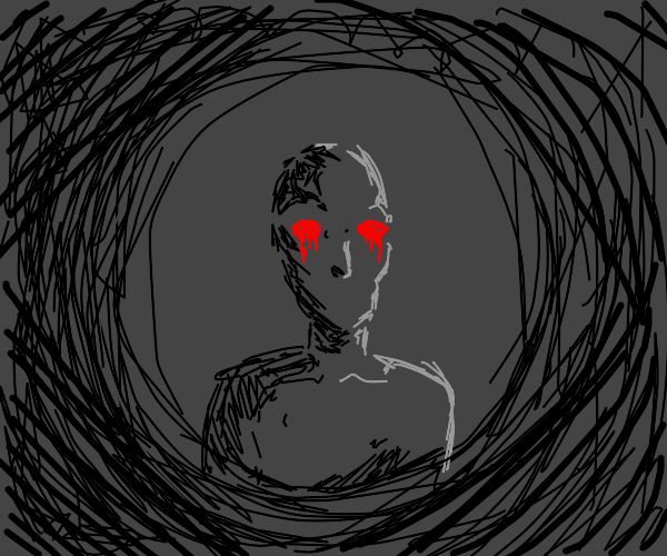 Red eyed man in the darkness