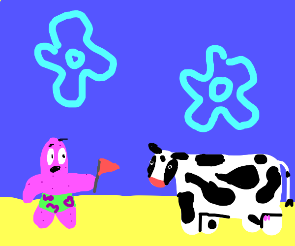 surprised patrick holding flag staring at cow