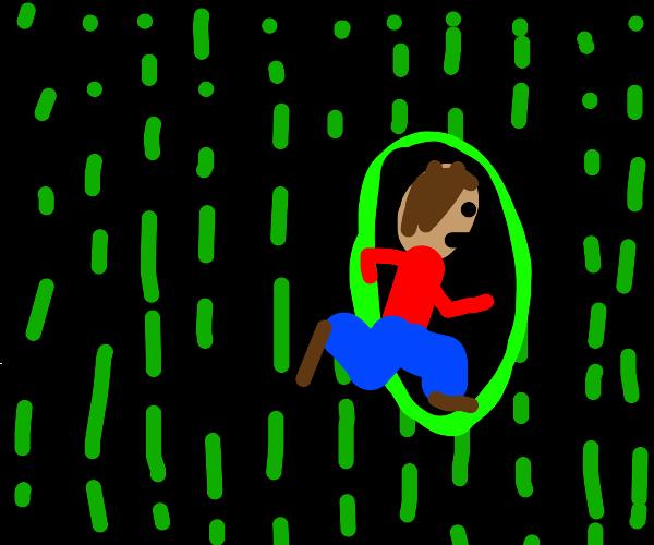 Man escapes the matrix