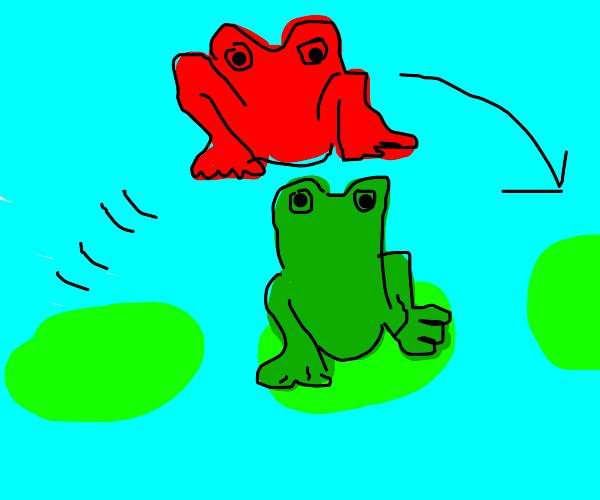 Red frog leapfrogging green frog