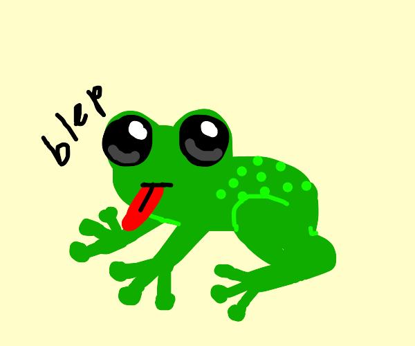 Kawaii frog going blep