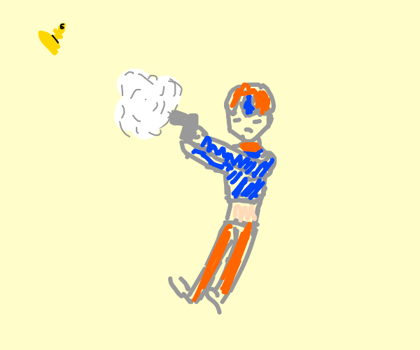 mista playing with his gun