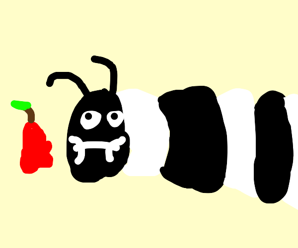 The Very Hungry Caterpillar, but he's b & w