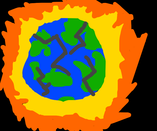 """blown up Earth and ElizabethII""""Finally Peace"""""""
