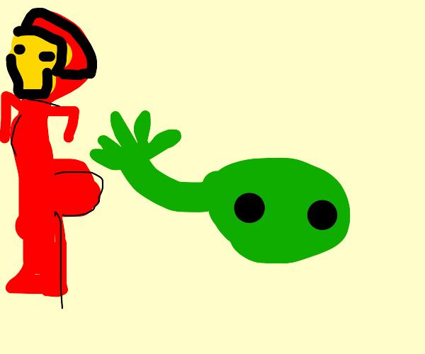 a green slime slaps ironmans ass