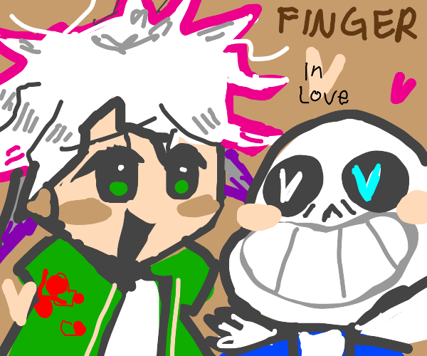 sans x white-haired person