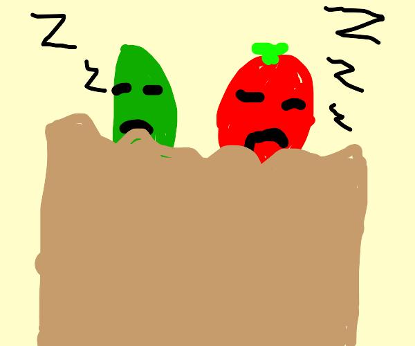 Sleepy veggies nap in a cozy bag