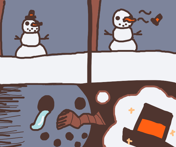 Oh No! the snowman's hat blew away!
