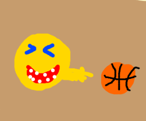 An emoji laughing at a basketball