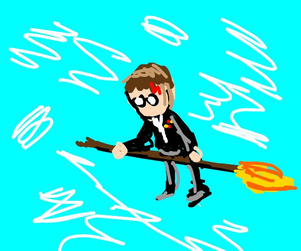 Harry Potter on his broom