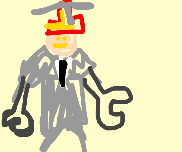 businessman with propeller hat and robot arms